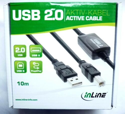 USB 2.0 Printer Cable 10m Active Inline 34511I for Canon Epson Brother hp