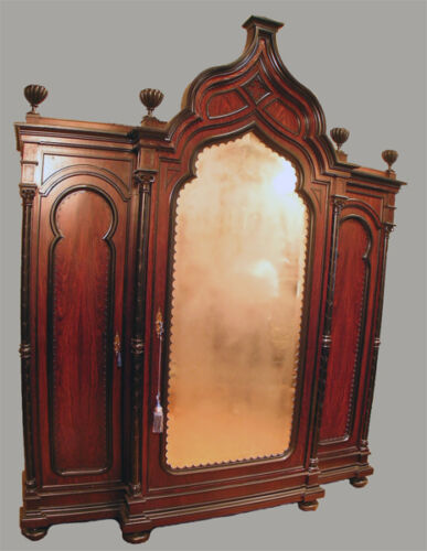 ANTIQUE AESTHETIC MOVEMENT TRIPLE ARMOIRE