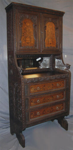 ANTIQUE HEAVILY CARVED JACOBEAN REVIVAL STYLE CABINET SIGNED EDWARDS & ROBERTS