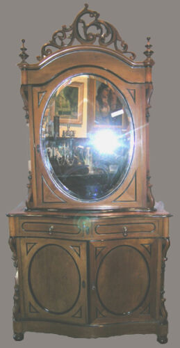 ANTIQUE ENGLISH MIRRORED CABINET
