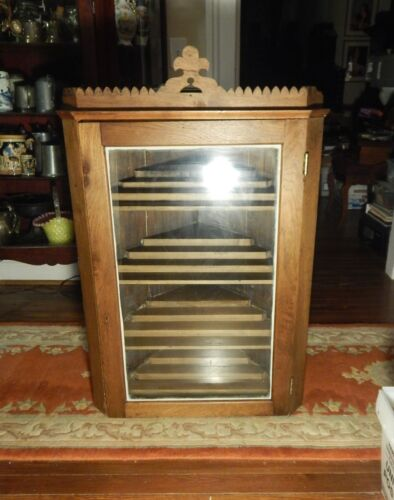 "1800s Early Store Display Corner Cabinet With Glass Door Sits or Hangs 43""h"