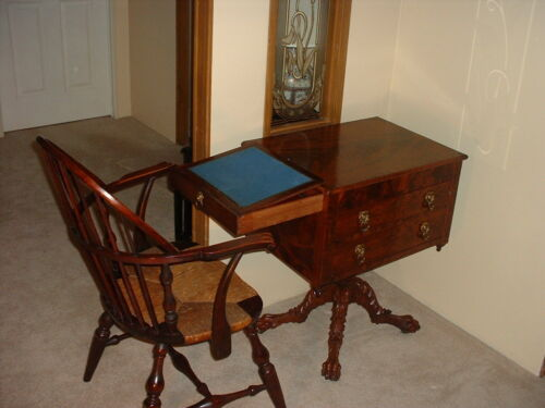 Mahogany Federal Classical Hairy Paw Worktable, New York (Michael Allison 1815)