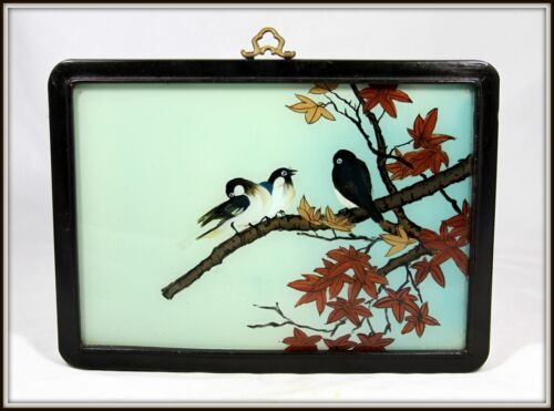 """AUTHENTIC """"Hand Painted Chinese Reverse Glass Painting of Birds in a Maple Tree"""""""