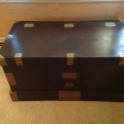 ANTIQUE STORAGE/TRAVEL CHEST- 1893 - BRASS AND MAHOGANY - AMAZING INTERIOR