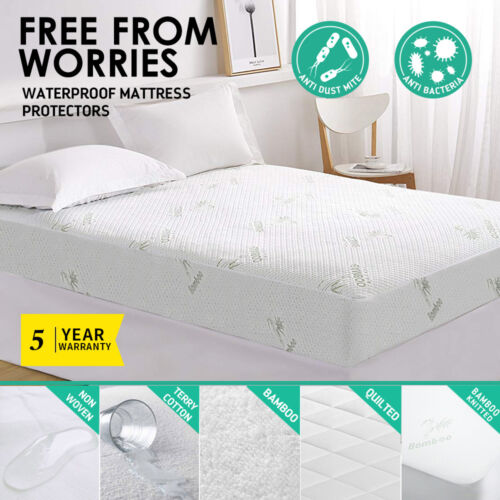 All Size Fully Fitted Waterproof Cotton Bamboo Fibre Mattress Protector Cover <br/> 5 Types: Cotton - NonWoven - Bamboo - Quilted - Knitted