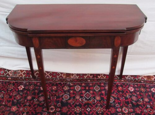 18TH C INLAID MAHOGANY HEPPLEWHITE ANTIQUE CARD TABLE CONSOLE / GAME TABLE ~ MA