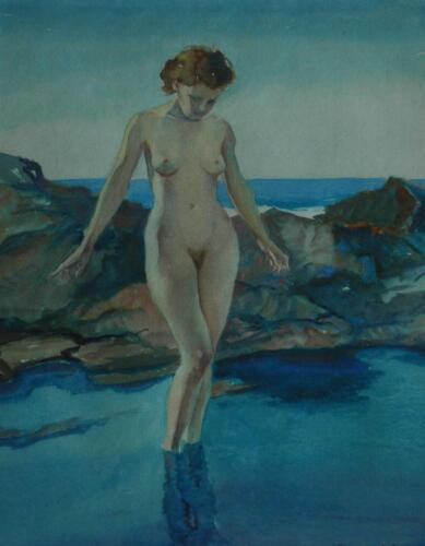 Watercolor of Beautiful Nude at The Beach Massachusetts Artist Stanley Woodward