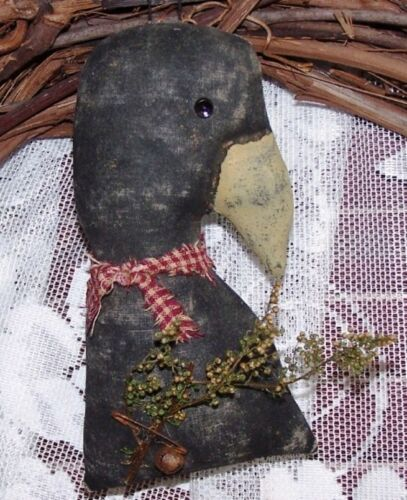 PRIMITIVE SIMPLE CROW ORNIE ~MAILED PATTERN~ORNAMENT, BOWL FILLER, TUCK ~ EASY!!