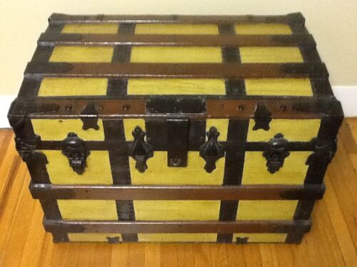 Antique Steamer Trunk with wood slats and rollers.  Great patina c. 1900