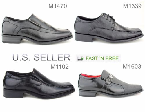 Men's Black Dress Shoes Formal Casual Slip-on Loafer Solid Lace Up Square Toe