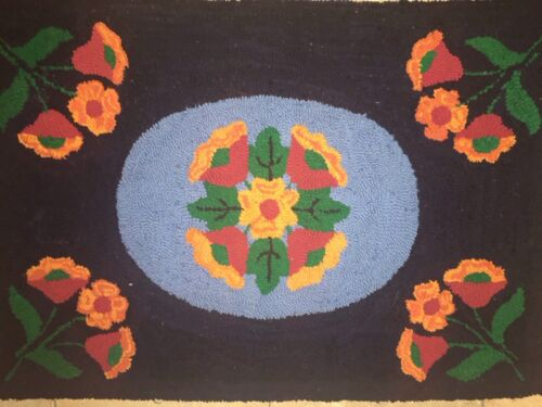 VINTAGE/ANTIQUE AMERICANA HAND HOOKED RUG Flowers  Black Bright Colors