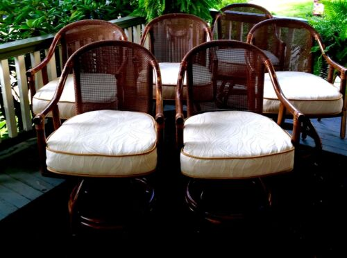 6 Mid Century Bamboo Rattan Barrel Arm Chairs Swivel Patio Kitchen Dining Accent