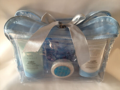 RUSK TRAVEL BAG~NEW 6 PIECE SET~SHAMPOO+COND+BODY WASH+BODY LOTION+SOAP+LILY