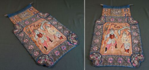 Fine Chinese 18th~19th Century Qing Dynasty Silk Embroidery Two Warriors