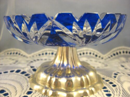 Continental French Sterling ~ Cut to Clear Cobalt Glass Compote ~ Silver Base