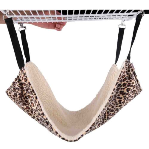 Cat Hammock LARGE 54cm X 38cm Leopard Fur Bed Hanging Cat Kitten Cage Ferret