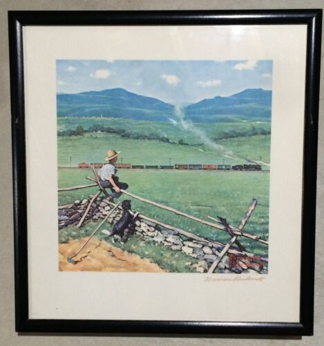 """Artist Norman Rockwell """"Watching The Train"""" Lithograph Print Hand Signed w/ COA"""
