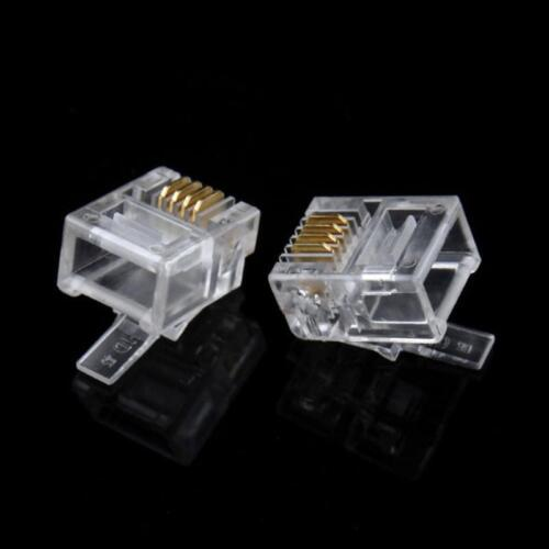 RJ11 6P4C Connector Modular Plug Gold-Plated Crimp on for Telephone ADSL Network