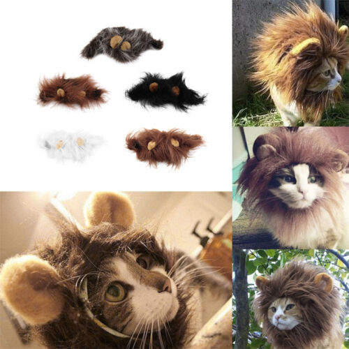 Pet Costume Lion Mane Wig for Cat Halloween Christmas Party Dress Up With Ear SY