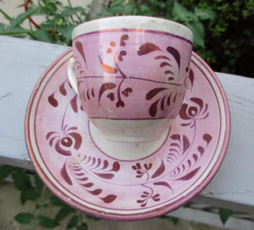 Antique Staffordshire Pink Copper Luster Cup & Saucer