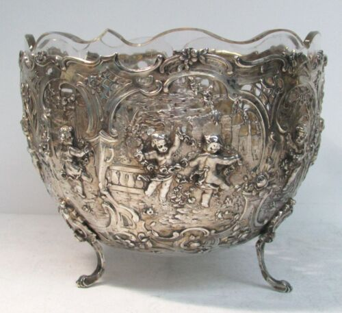 DELIGHTFUL ANTIQUE CONTINENTAL SILVER RETICULATED CRYSTAL LINED BOWL