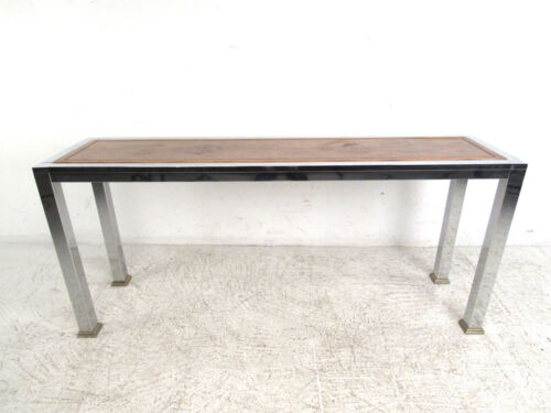Mid-Century Modern Wood and Chrome Console Table (5139)NJ