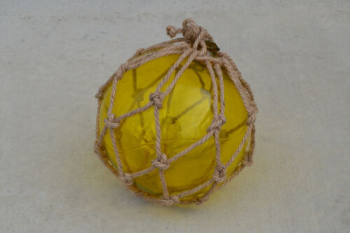 "YELLOW BLOWN GLASS FLOAT FISHING BUOY BALL WITH FISHNET 12"" SF-958"