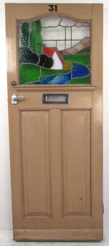 Vintage Stained Glass Door (9341)NJ