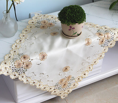 Dainty Yellow Daisy Embroidery Cutwork Ivory Table Topper 57cm