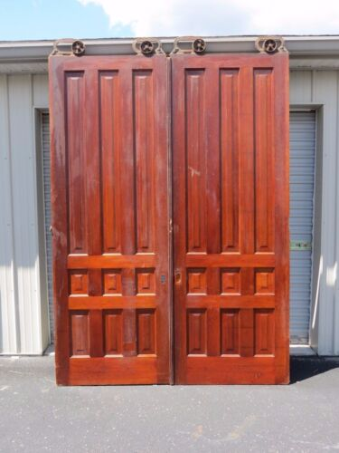 Antique Pair 8 Ft Tall Cherry Interior Sliding Pocket Doors w/ Rollers Hardware