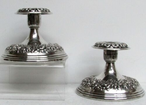 1890's  REPOUSSE' S. KIRK & SONS STERLING SILVER CANDLE HOLDERS