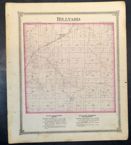 Original 1875 Map of Hillyard & Polk Township Illinois 18.5x15.5 inch