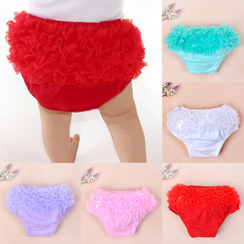 Baby Toddler Girls 3-24M Cotton Lace Ruffle Nappy Diaper Cover Bloomers Panties