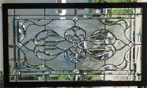 """Stained Glass window Beveled  hanging Oak Framed 22 3/4 X 39"""""""