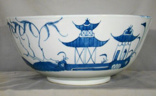 Antique Chinese Export Porcelain Blue & White Canton Sm Punch Bowl 19th c