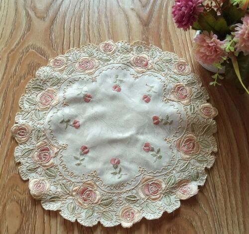 Beautiful Pink Rose Embroidery Ivory Round Doily 29cm