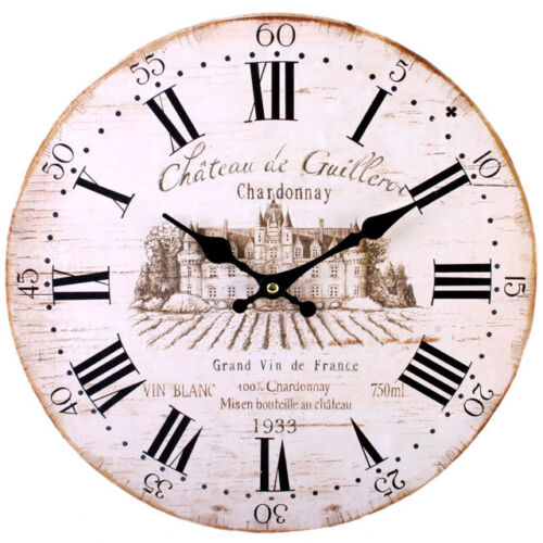 Wall Clock - Rustic French Wine Design (34cm)