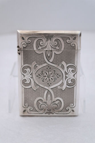 Gorham 1860 Coin Silver Engraved Brightcut Engine Turned Card Case
