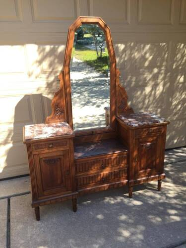 Antique French Country Vanity Dresser with Mirror and marble tops