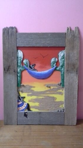 Vintage Mixed Media, Rustic Timber Frame, Cactus With Mexican Asleep on Hammock