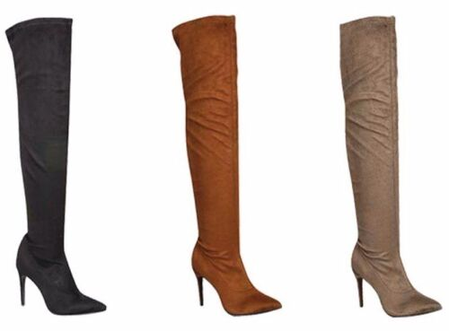 New Women's Over The Knee Thigh High Stretch Almond Toe Stiletto High Heel Boots