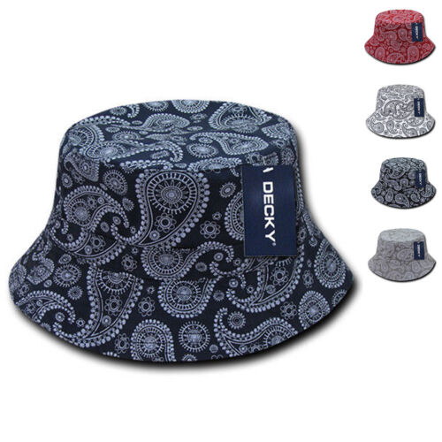 e089acddbc06f Decky Paisley Bandana Design Fitted Bucket Boonie Hats Caps Cotton 2 Sizes