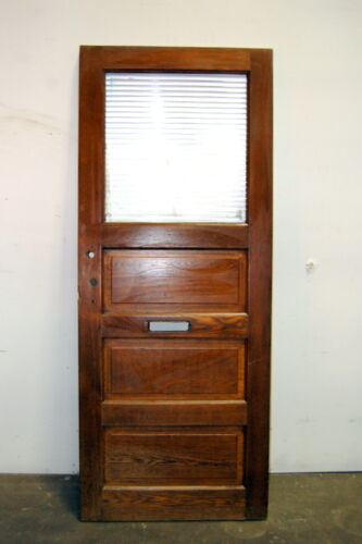 Antique Oak 3 Panel Entry Door w/ Corrugated Glass, Architectural Salvage