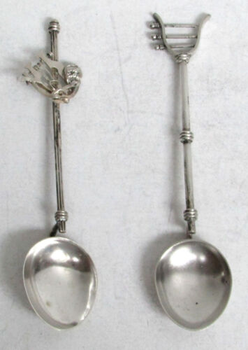 PAIR VINTAGE CONTINENTAL SILVER ANCIENT CLASSICAL STYLE MUSICAL LYRE SPOONS