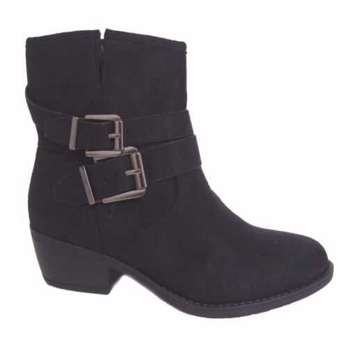New Women's Black Suede Cowboy Buckle Strap Riding Low Chunky Heel Ankle Boots