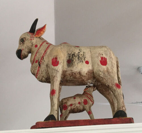 Antique Hindu Temple Figure of A Nandi Cow with Calf