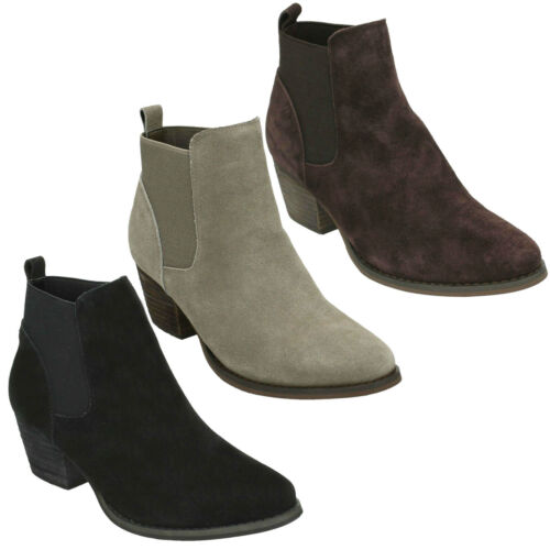 LADIES DOWN TO EARTH PULL ON CASUAL WORK CHELSEA SUEDE HEELED ANKLE BOOTS F50678