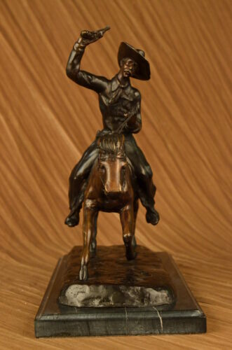 SIGNED BRONZE CHARLES RUSSELL COWBOY REVOLVER SCULPTURE ART DECOR FIGURINE