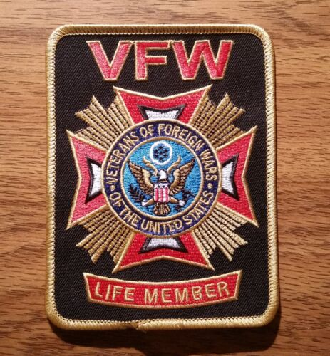 Veterans of Foreign Wars (VFW Life Member) Embroidered Black Patch - New StyleOther Current Military Patches - 36070