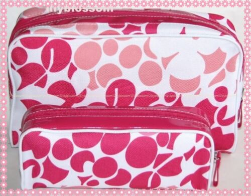 2 pc Set CLINIQUE Pink & White Spring Floral Cosmetic Makeup Bag NEW